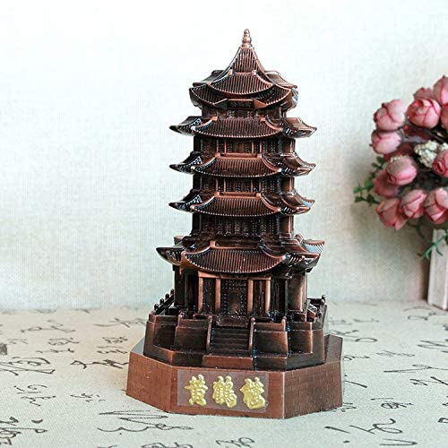 Vintage Iron Model Handmade Classic Red Wine Wuhan Yellow Crane Tower Retro Handicraft Collectible Iron Art Sculpture Office for Christmas Xmas Home Decor Workplace Gift-DX2188