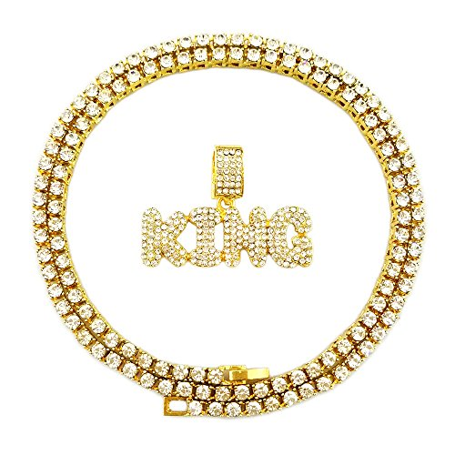 (HH Bling Empire Hip Hop Iced Out Gold Faux Diamond Bubble Dripping Full Name Letters Tennis Chain 20 Inch)