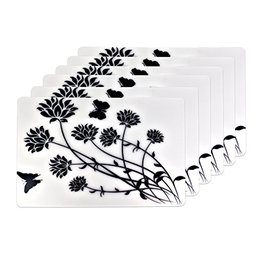 Black Flowers Plastic Placemats Table Mats Set of 6
