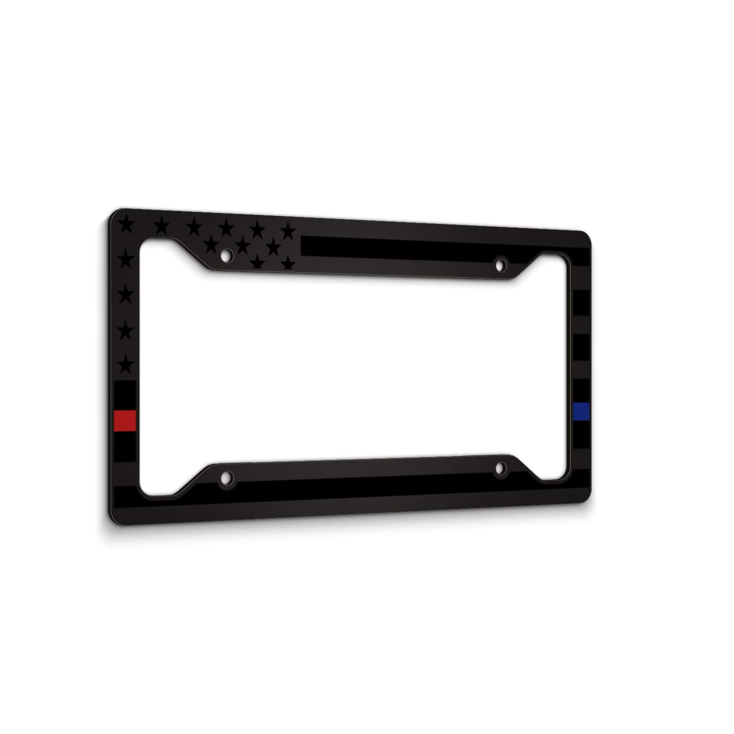 Blue On Brushed Police JASS GRAPHIX American Flag License Plate Frame Thin Blue Line Car Tag Frame