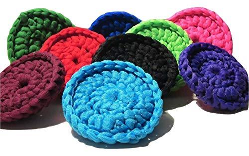 Kitchen Doodads - Crochet Trinkets Crocheted Scrubbies - Pot Pan Scrubbies Nylon Net - Skin Exfoliators - Set of 4 - Colors Vary - Made in USA