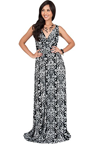 Silk Long Dress Gown (KOH KOH Plus Size Womens Long Sleeveless V-Neck Flowy Cute Summer Sundress Sun Vintage Damask Floral Print Party Jersey Sexy Gown Gowns Maxi Dress Dresses For Women, Black and White 2 X 18-20)