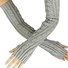 Hot Sale!!! Women's Gloves,Jushye Ladies Fashion Winter Hemp Flowers Fingerless Knitted Long Gloves