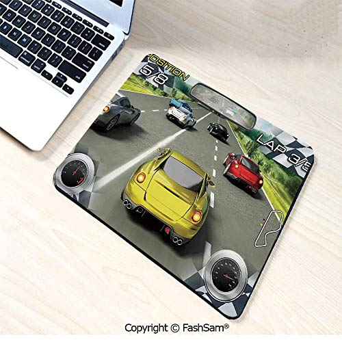 Non-Slip Rubber Mouse Pads Car Racing Speedy Inspired Illustration Need for Speed Road Competition Motor Sports Theme for Computers Laptop Office(W9.85xL11.8)