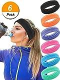 Hestya 6 Pieces 6 Colors Sweatband Elastic Sport Head Bands Non Slip Athletic Headband Moisture-wicking Headwear for Men and Women