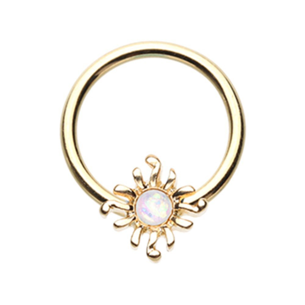 Inspiration Dezigns 16G Golden Blazing Synthetic Opal Sun Captive Bead Ring Sold Individually