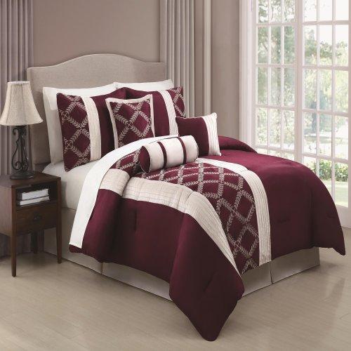 Chic Home Julius 7-Piece Comforter Set, Queen, Burgundy