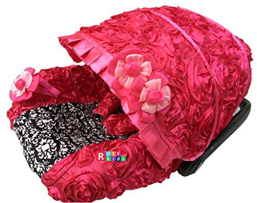 Rosy Kids Infant Carseat Canopy Cover 3pc Whole Caboodle, Baby Car Seat Cover Outdoor Kit, 3D Rosette Fabric, Hot Pink Damask Print (Cheetah Baby Car Seat Covers)