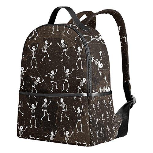 YZGO Halloween Dancing Skeletons School Backpack for Boys Girls Dia De Los Muertos Skull Bookbag Travel -