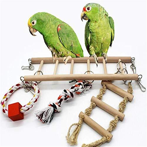 WXH Naturals Rope Ladder Bird Toy Orbiter Hammock Swing Super Bird Creations Chewing Hanging Meet Your Various Needs for Birds Parrot Having Fun ()