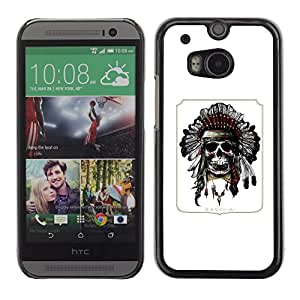 Shell-Star Arte & diseño plástico duro Fundas Cover Cubre Hard Case Cover para HTC One M8 ( Indian Feather Headdress Native American )