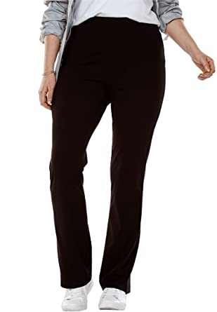 Woman Within Womens Plus Size Tall Stretch Cotton Bootcut Yoga Pant