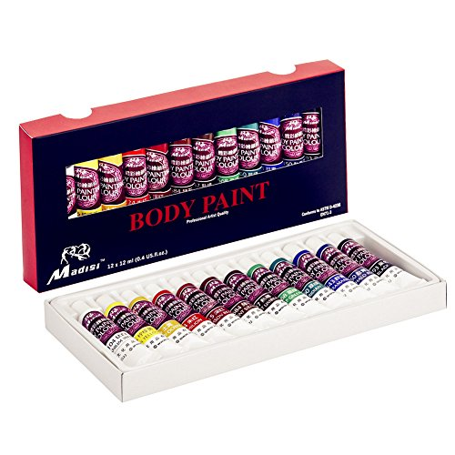 Madisi Body Paint Set - 12 Vivid Colors, 12 ML Tubes