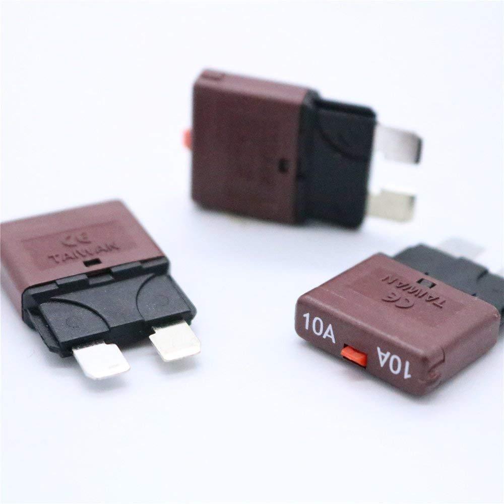 Rot 10 Ampere 28V DC-Leistungsschalter-Kfz-Flachsicherungen Kfz-Handr/ückstellsicherung Auto-Versicherungstabletten-/Überlastschutzvorrichtung