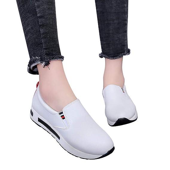 JiaMeng Zapatos Planos Gruesos con Fondo de resbalón en Botines Zapatos de Plataforma onales Wedge Sneakers Mujer: Amazon.es: Ropa y accesorios
