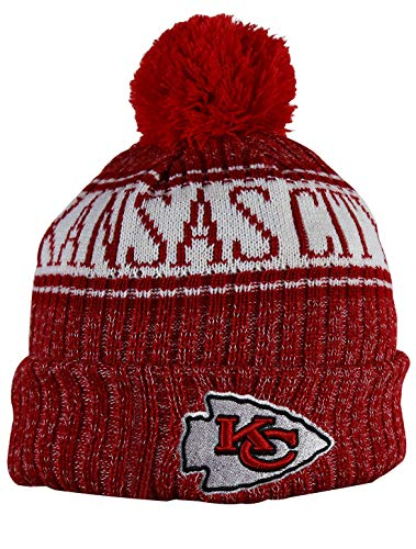 KC CHIEFS Adult Winter Knit Beanie Hat With Removable Pom Pom One Size Fits Most Multicolor (Chief Hats)