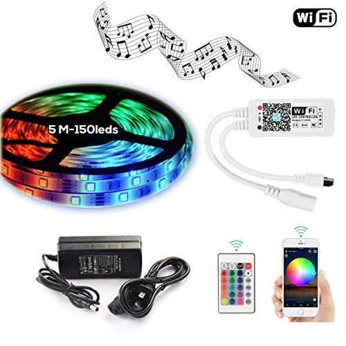 LED Light Strip WiFi Wireless Controller Waterproof Full Kit with IR Remote & 12V 5A Power Supply 16.4ft 5050 RGB Rope Lights Music Work with Alexa Echo, Android, iOS APP and Google Assistant(150leds)