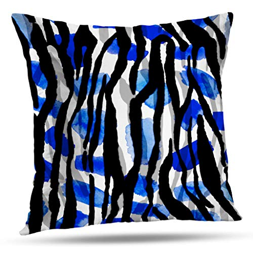 Pakaku Decorative Throw Pillow Covers Painting Watercolor Abstract Zebra Skin Pattern Tie Dye Gradient Brush Stains Pillowcase Cushion for Couch Sofa Bed Polyester 18