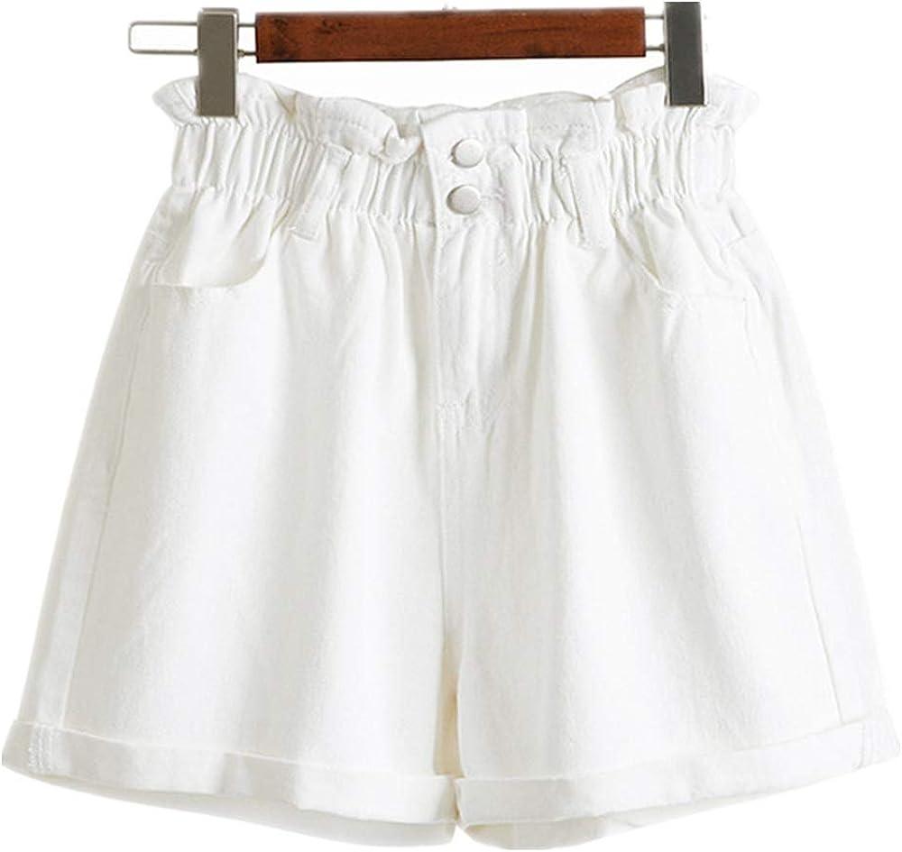 Jeans Cortos Mujer Pantalones Cortos de Mezclilla de Cintura Alta elásticos Blancos Jeans Feminino Verano Negro Pantalones Cortos de Mezclilla para Mujer