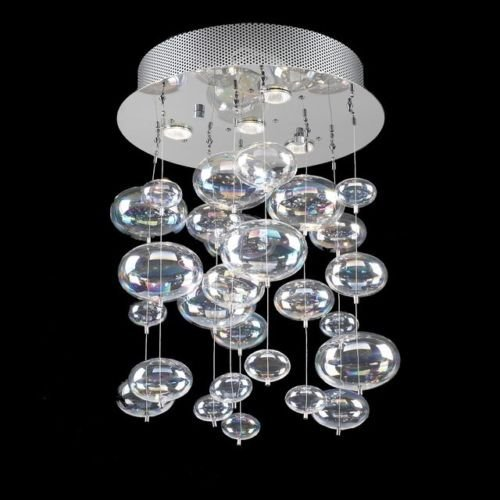 Decomust® 16 inch Bubble Glass Chandelier Pendant Ceiling Light with Rainbow Clear Glass