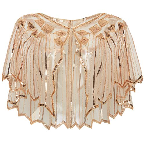 BABEYOND 1920s Shawl Wraps Sequin Beaded Evening Cape Bridal Shawl Bolero Flapper Cover Up (Y-Rose Gold)