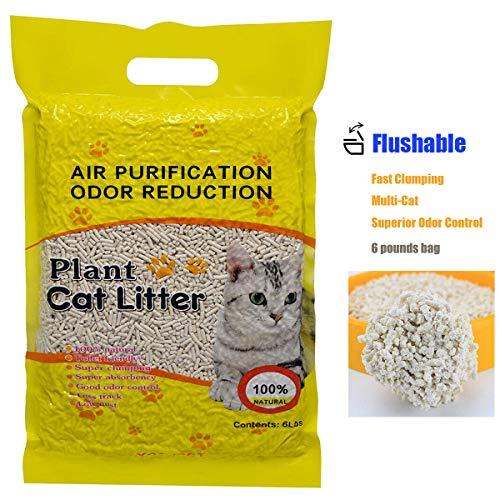 Ultra Clumping Cat Litter, Tofu Cat Litter Fast-Clumping, Multi-Cat Litter Flushable Litter Unscented and No Dust Pellets (6 lbs, 1 Pack)