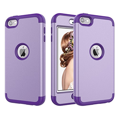 ACKETBOX iPod Touch 7 Case,iPod Touch 6 Case,Three Layer Shockproof Protective Cover for Kids Hard PC Back Case and Bumper+Silicone for iPod Touch 7th/6th/5th Generation(Light Purple)