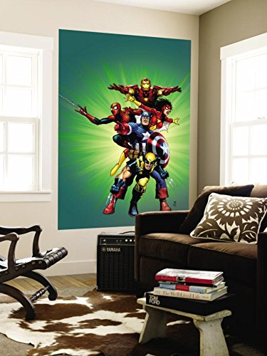 Wizard No.136 Cover: Captain America, Wolverine, Spider-Man, Spider Woman, Iron Man & New Avengers Wall Mural by Jim Cheung 48 x 72in by MARVEL CHARACTERS, B.V.