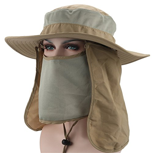 Outdoor Boonie Sun Hat Detachable Neck Face Flap Hat - UPF 5