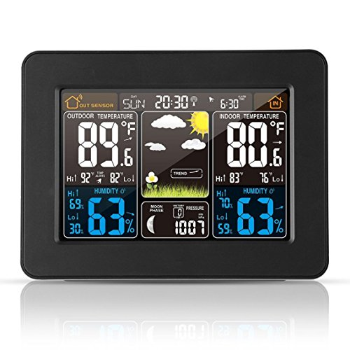 Atomic Wireless Weather Station with Indoor / Outdoor Wireless Sensor – TG645 Color Display Weather Station Alarm Clock With Temperature Alerts, Forecasting by Think Gizmos. Photo #3