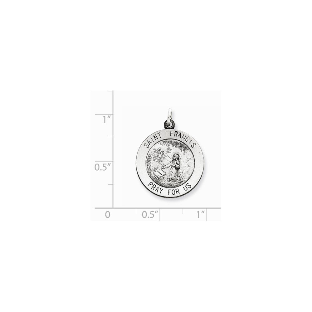 20mm x 25mm Jewel Tie 925 Sterling Silver Antiqued-Style Saint Francis Medal