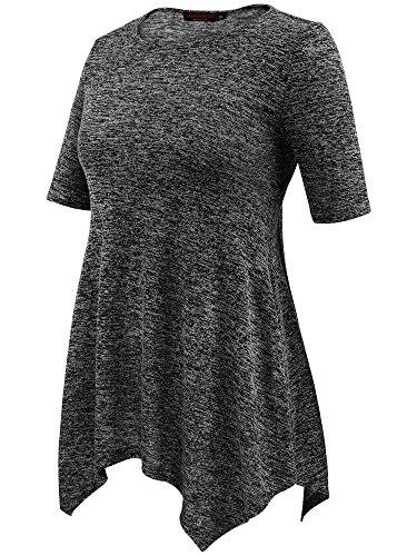 Blouse T VESSOS Casual Noir Courtes Femme S Manches Shirt 2XL A15qRw