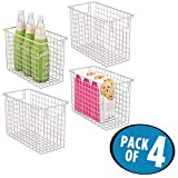 mDesign Tall Household Wire Storage Organizer Bin Basket with Built-In Handles for Kitchen Cabinets, Pantry, Closets, Bedrooms, Bathrooms – Tall, 12'' x 6'' x 8'', Pack of 4, Satin