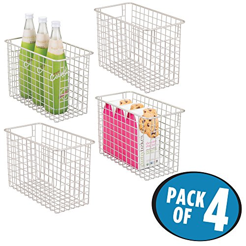mDesign Tall Household Wire Storage Organizer Bin Basket with Built-In Handles for Kitchen Cabinets, Pantry, Closets, Bedrooms, Bathrooms � Tall, 12