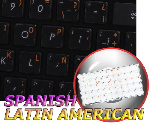 Spanish (Latin American) Keyboard Labels Layout ON Transparent Background with Blue, Orange, RED, White OR Yellow Lettering (14X14) (Orange)