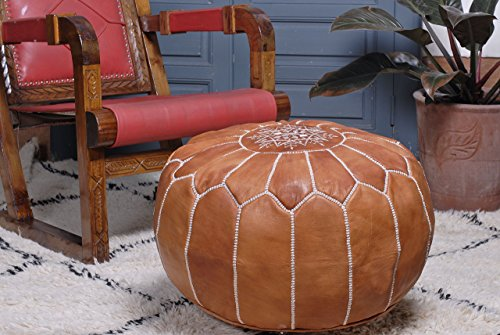 28h Cabin - Moroccan Leather Pouf Ottoman Footstool Cover, Medium Tan, Handmade with Pure Quality Goat's Leather.