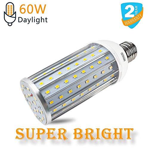 Intpro 60W LED Corn Light Bulb Lamp, 6000LM E26/E27 6500K 85V~265V Super Bright Light for Indoor Large Area, Garage barn Workshop Warehouse Factory Porch Backyard High Bay Street ()