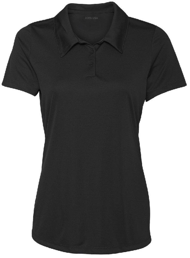 Ladies' Performance 3-Button Golf Polo (Black, Medium) by Joe's USA