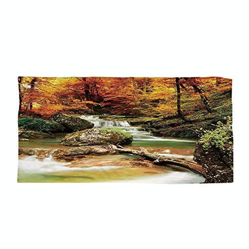 Cotton Microfiber Beach Towel,Waterfall,Autumn Seasonal Woodland Creek Trees Foliage Rocks in Forest Image,Orange Green Light Brown,for Kids, Teens, and Adults