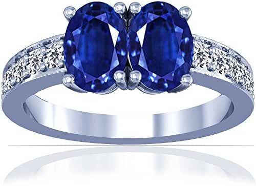 Platinum Oval Cut Blue Sapphire Ring With Sidestones (GIA Certificate)