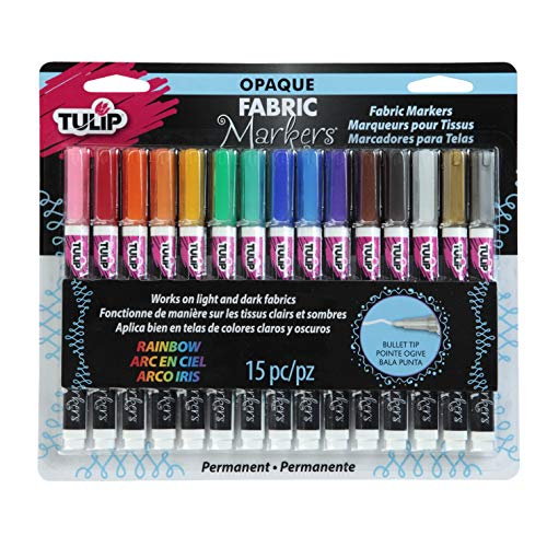 Tulip Opaque Fabric Markers, Assorted Colors, Set of 15