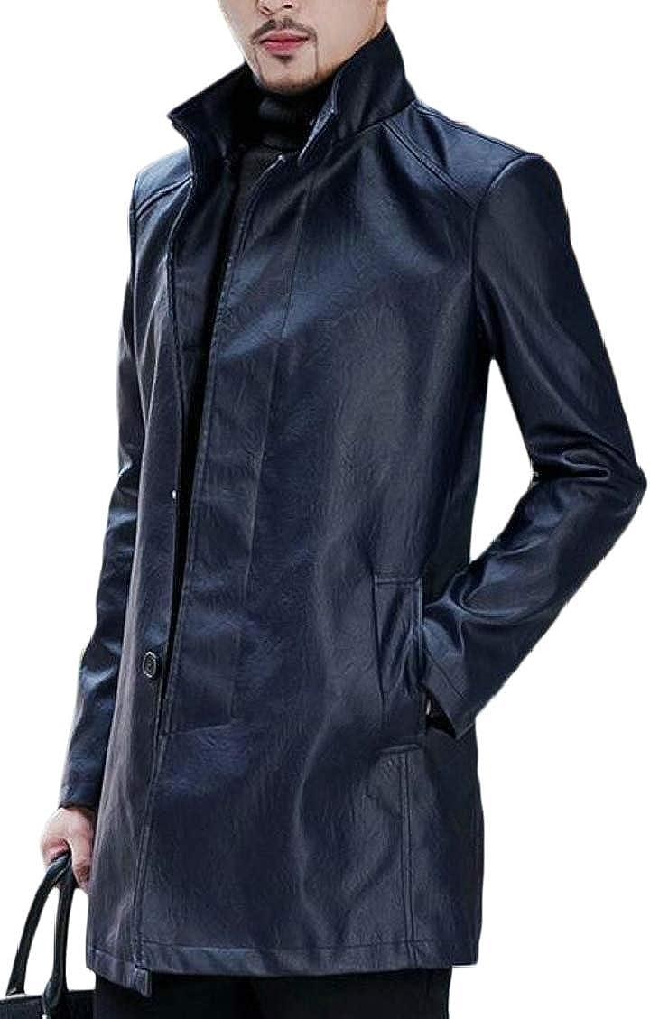 Hajotrawa Men Stand Collar Button Down Faux Leather Modern Blazer Jacket