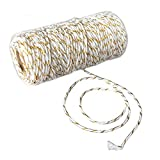 Bakers Twine 110 Yard Cotton String 2 Ply Craft Twine for Packing Gardening and Wrapping Gifts 1 Roll (Gold + White)