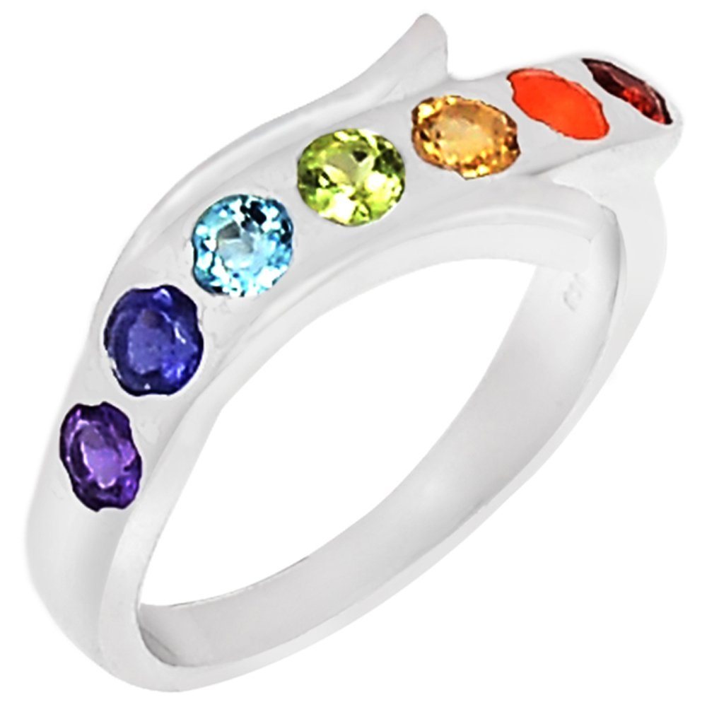 Xtremegems Healing Chakra 925 Sterling Silver Ring Jewelry Size 9 CP222-9