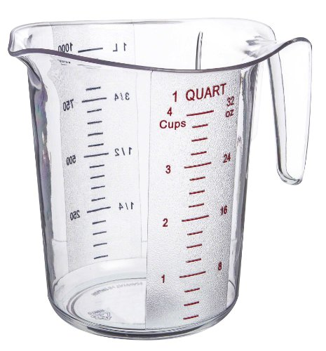 4 Cup Measure (Update International (MEA-100PC) 1 Quart Plastic Measuring Cup)