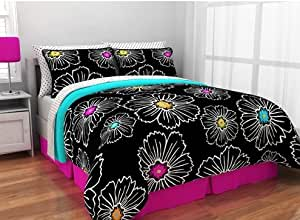 Amazon Com Modern Floral Black Hot Pink Aqua Twin Twin
