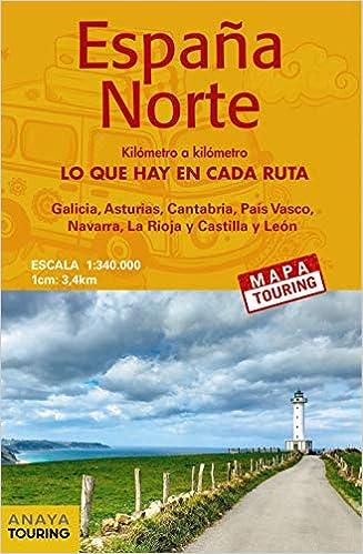 Mapa de carreteras 1:340.000 - España Norte desplegable Mapa Touring: Amazon.es: Anaya Touring: Libros