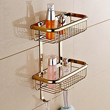 Amazon.com: Wall Mount 2 Tiers Dual Rectangle Wire Baskets Bathroom ...