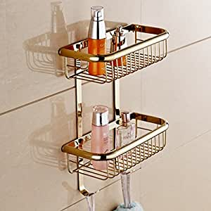 Wall Mount 2 Tiers Dual Rectangle Wire Baskets Bathroom Shower Caddies Cosmetic Storage Holder Shelf (polished brass Finish)