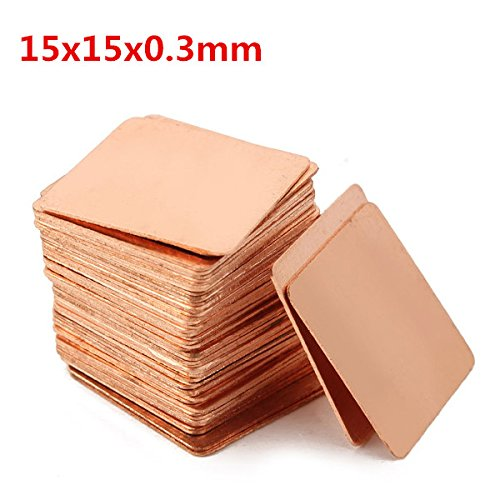 Hitommy 100pcs 15x15x0.3mm Pure Copper Cooling Plate Thermal Conductivity Copper